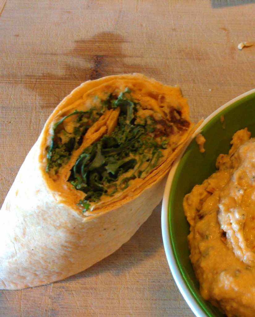 Sun Dried Tomato Hummus and Kale Wraps