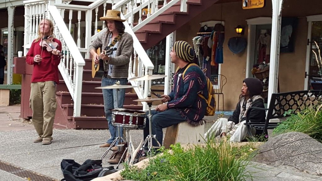 Street musicians in Taos.