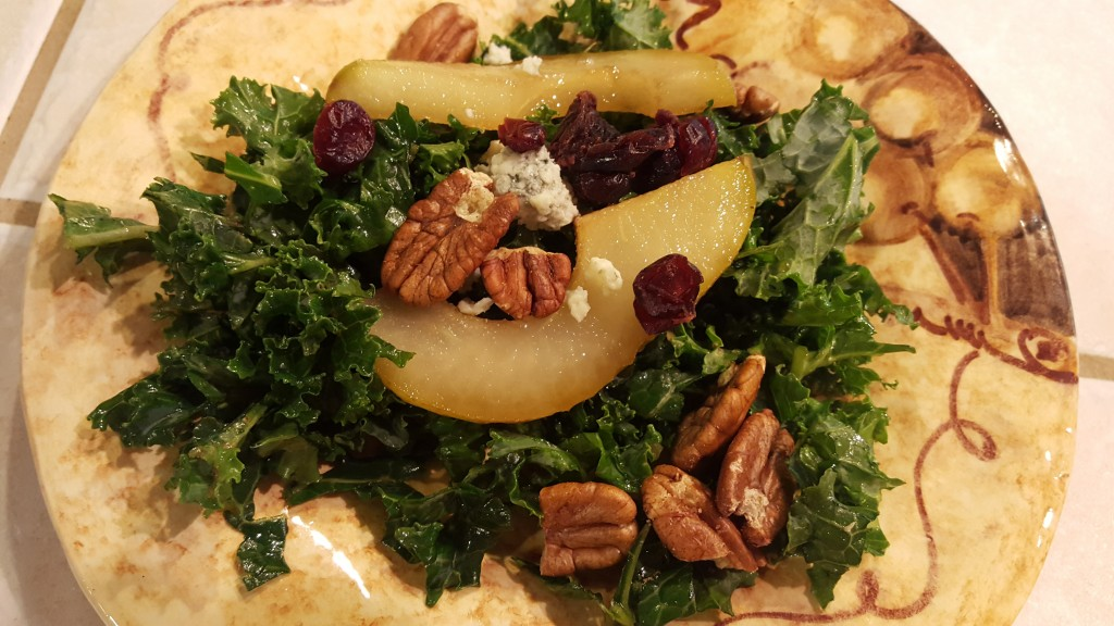 Kale and Pear Salad with Shallot Vinaigrette from Eliot's Eats