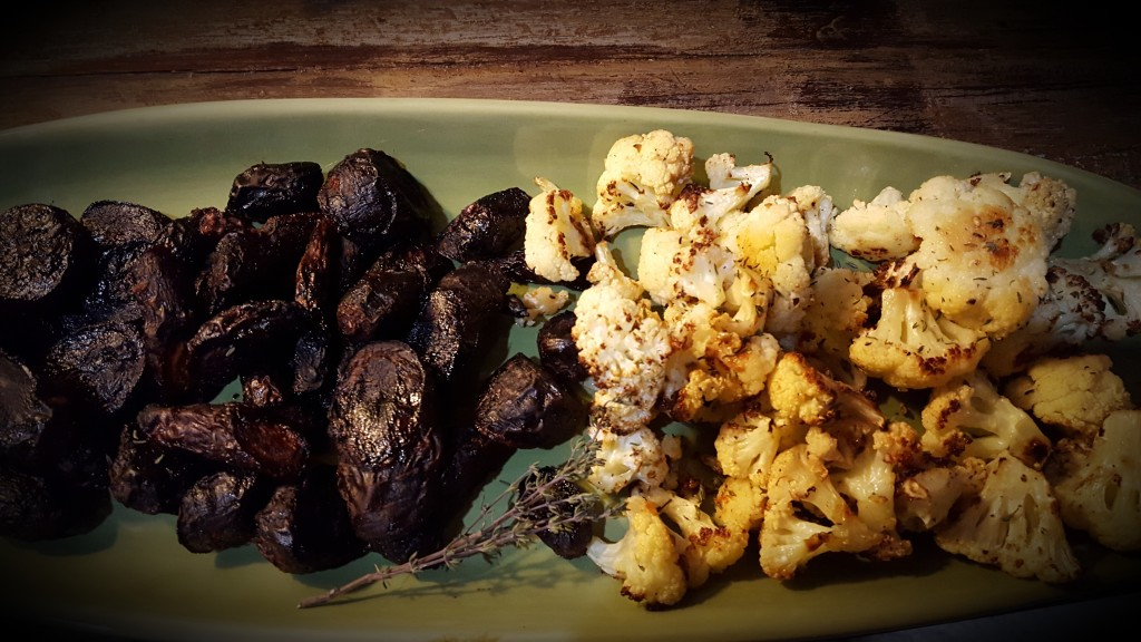 Honey-Sriracha Carrots and Mediterranean Roasted Cauliflower from Eliot's Eats