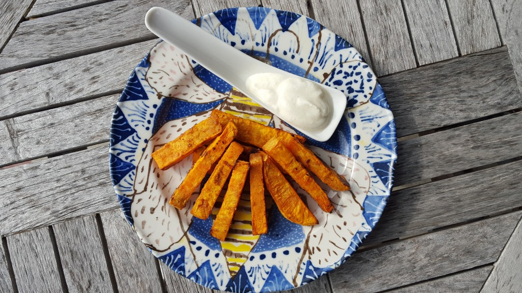 Tangerine Hatch Chile Sweet Potato Fries with Cooling Yogurt Sauce