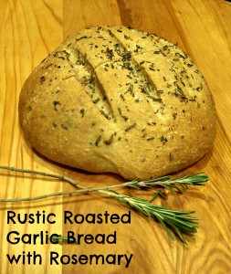 Rustic roasted garlic bread