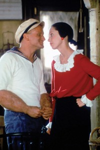 POPEYE, from left: Robin Williams as Popeye, Shelley Duvall as Olive Oyl, 1980. ©Paramount/courtesy