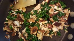 Mushrooms and kale